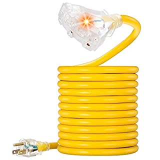 Outdoor Extension Cord 15 ft, VCZHS UL Listed Heavy Duty Extension Cord 12 Gauge Extension Cord Outdoor SJTW Lighted Triple Outlet Extension Cord 12AWG 15 Amp,1875 Watts,12/3 Extension Cord 3 Prong