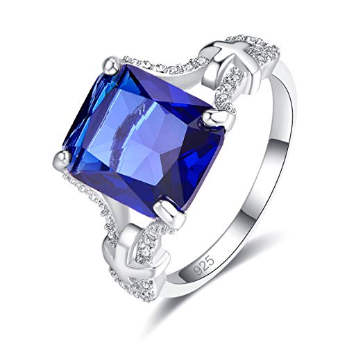 - Psiroy 925 Sterling Silver Created Blue Sapphire Quatrz Filled Cross Band Big Stone Statement Ring for Women Size 7