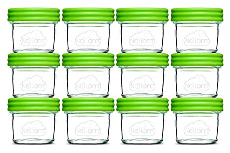 Amazon.com: Nellam Baby Food Storage Containers - Leakproof, Airtight, Glass Jars for Freezing & Homemade Babyfood Prep - Reusable, BPA Free, 12x 8oz Set, ...