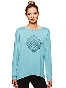 Gaiam Women's Long Sleeve Graphic Yoga T Shirt - Activewear Top w/Open Back - Hailey Cameo Blue, X-Small