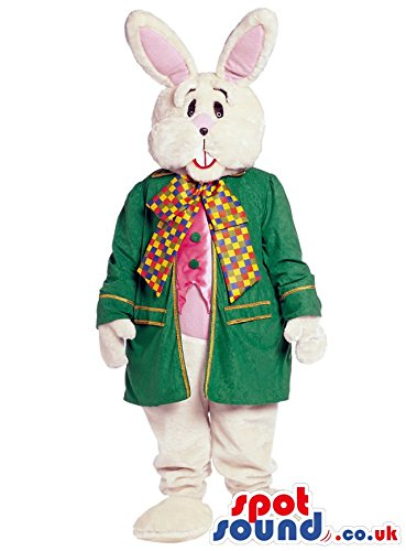 White Bunny Animal SPOTSOUND US Mascot Costume Wearing Elegant Garments