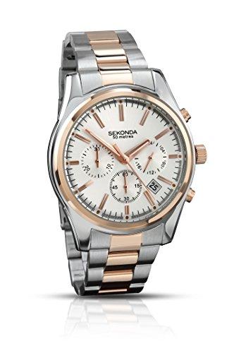 Sekonda kvartsklocka för män med silver urtavla kronograf display och två färger rostfritt stål armband 3486.71