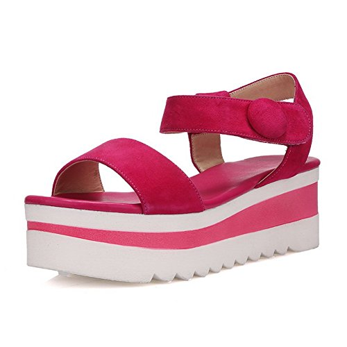 BalaMasa Girls Hook-and-Loop Preppy Style Frosted Sandals RoseRed W0i9tIIApy
