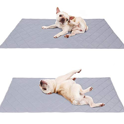 Naivedream Reversible Large Pet Cooling Mat Pad for Puppy Bulldog Boston Terrier Lab Pug Golden Retriever,Dog Cool Blanket Rug Carpet Placed on Bed Kennel Cave Machine Washable 31.5