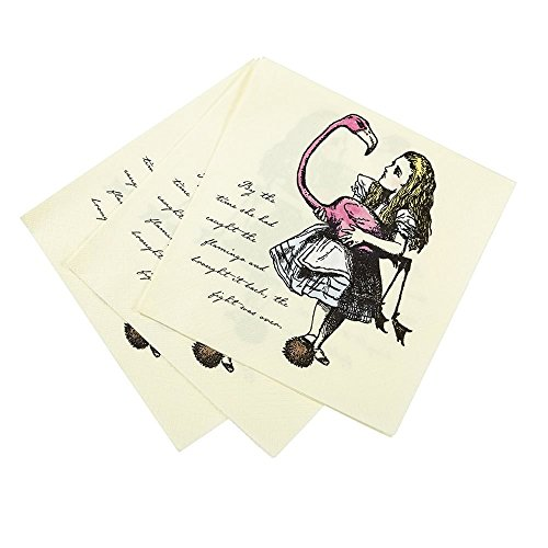 Talking Tables Truly Alice 13 Alice in Wonderland Mad Hatter Party Paper Napkins for a Tea Party or Birthday (40 Pack) -