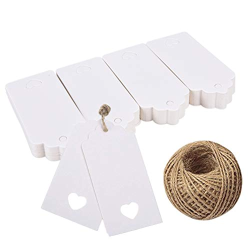100PCS White Kraft Paper Gift Tags with 100 Feet Jute String | Vintage Tags with Hollow Heart Wedding Favor Tags