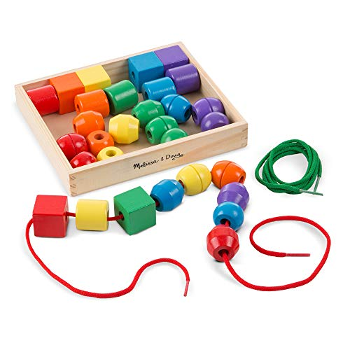 : Melissa & Doug Primary Lacing Beads (Developmental Toys, Easy to Assemble, 30 Beads and 2 Laces, Great Gift for Girls and Boys - Best for 3, 4, and 5 Year Olds)
