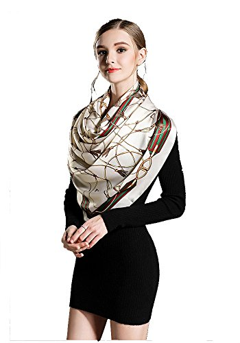 - Women's Silk Scarf - Floral Print Soft Luxurious Large Shawl Neck Head Hair Wrap Neckerchief Flower Design