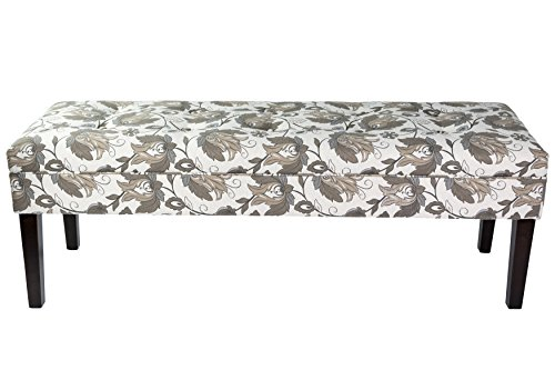 - Sole Designs Kaya Collection Contemporary Rectangle Upholstered Entryway Storage Bench With Tufting, Floral Pattern