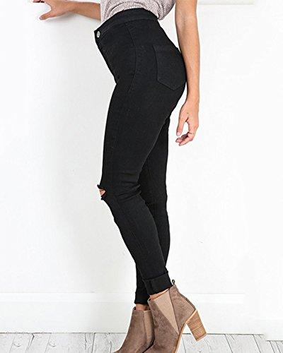 Genoux Casual Slim Jeans Dchir Pantalons Pants Leggings Denim Haute Trou Taille Femme Noir Crayon vB01Fqc
