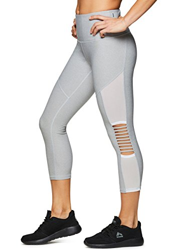 RBX Active Women's Strappy Mesh Capri Leggings Strap Grey L