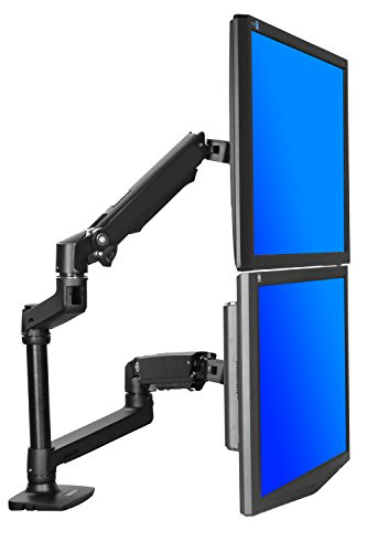 "Halter Dual LCD Adjustable Monitor Stand, Dual Stacking Arm, Desk Clamp/Grommet Base- Optional Use for Either 2 LCDs or LCD and Laptop, Holds up to 32"" LCD Monitors"