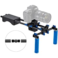 Dazzne Portable FilmMaker System With Camera/Camcorder Mount Slider, Includes: Camera Mount Slider, Soft Rubber, Shoulder Pad and Dual-handgrip for All dslr Video Cameras and DV Camcorders