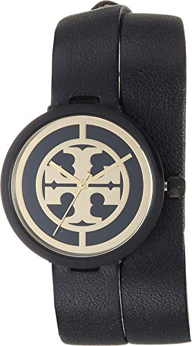 Tory Burch Women's Reva Leather Watch, 28mm, Black, One ()