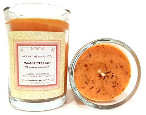 Manifestation Affirmation Candle 8 oz Natural Soy Wax with Herbs & Essential Oils for Dreams, Wishes, Goals & The Law of Attraction for Wiccan, Pagan & Magic Spells & Rituals