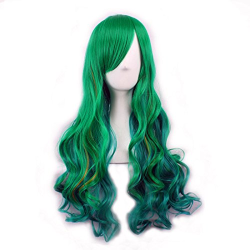 WINZIK St. Patrick's Day Irish Party Women's Green Long Curly Hair Heat Resistant Fiber Wigs Halloween Costume Cosplay Photo Props