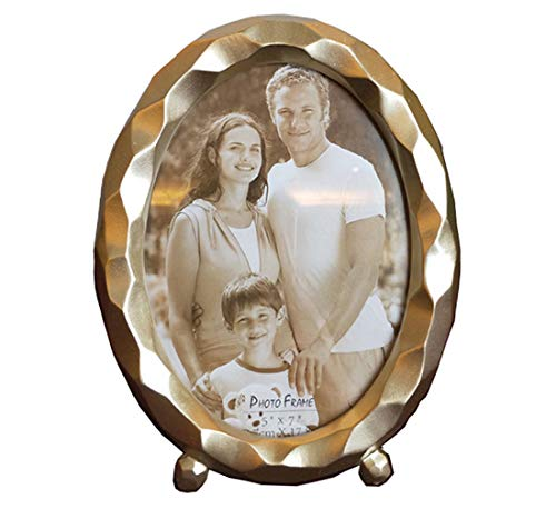 (SIKOO 5x7 Gold Picture Frame Oval Simple Table Top Wall Hanging Photo Frame with Glass Front Tabletop for Home Decor)