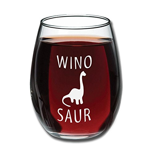 Funny Winosaur Wine Glass 15oz - Unique Gift Idea for Her, Mom, Wife, Girlfriend, Sister, Grandmother, Aunt - Perfect Birthday Gifts for Women - Present For Her