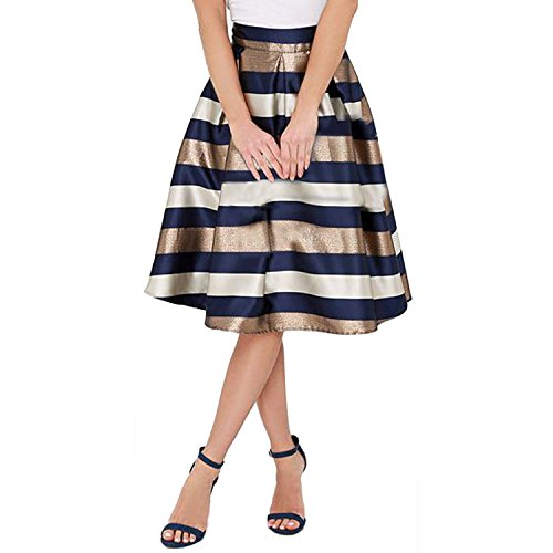 67c14d04e8 Jual SUNNOW Women s Color Print High Waist Flare Pleated A-line Midi ...