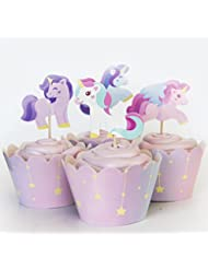 Unicorn Cupcake Kit - 24 Toppers + 24 Wrappers by Red Fox Tail