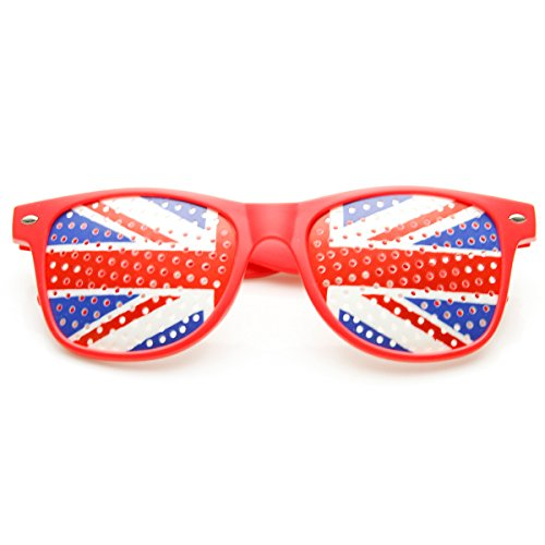 zeroUV - Colorful Horn Rimmed Great Britain UK British Flag Novelty Sunglasses (Red-Britain) (British Flag Sunglasses compare prices)