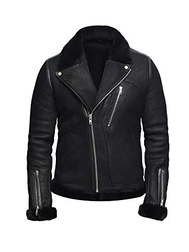 - Brandslock Men's Genuine Shearling Sheepskin Leather Jacket Brando (Large / (Fits Chest: 42-44 inches), Black)
