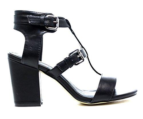 FRANCESCO MILANO L190P TALÓN sandalias de los zapatos, tacón alto, NUEVA COLECCIÓN PRIMAVERA VERANO 2016 DE PIEL NEGRO