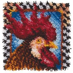Bulk Buy: Caron Wonderart (2-Pack) Latch Hook Kit 12in. x 12in. Rooster 426210C Spinrite Yarns LP