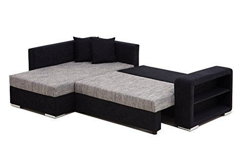 Ecksofa grau schwarz  Vicco Sofa Couch Ecksofa Houston Schlaffunktion Schlafsofa schwarz ...