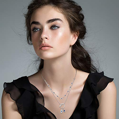 Layered Hamsa Hand Evil Eye Necklace for Women S925 Sterling Silver Toggle Necklaces with Beaded Chain Good Luck Hand of Fatima Choker for Teen Girls