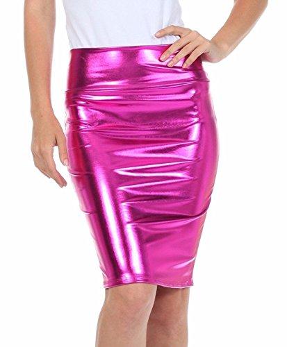 Top Fashion Damen Nasses Aussehen PVC metallisch Leder glänzend ...
