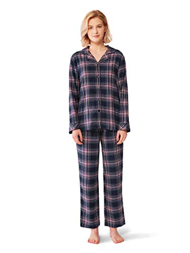 SIORO Flannel Pajamas for Women Cotton Plaid Pajama Sets Long Sleeve Sleepwear Loungewear Button Front Top Pants,Purple S ()