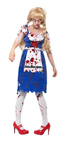 Ladies Zombie Dorothy Bavarian Oktoberfest Dead Beer Girl Halloween Fancy Dress Costume UK 8-18 (UK 8-10) ()