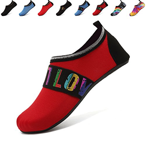 ANLUKE Water Barefoot Shoes Summer Swim Aqua Yoga Socks Beach for Men Women F Red/Love 40/41