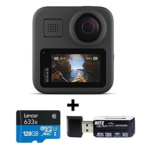 GoPro MAX - دوربین سنتی ضد آب 360 با صفحه لمسی Spherical 5.6K30 HD Video 16.6MP 360 عکس 1080p تثبیت جریان زنده با Lexar 128GB و کارت حافظه ریتز دنده ای ریتز