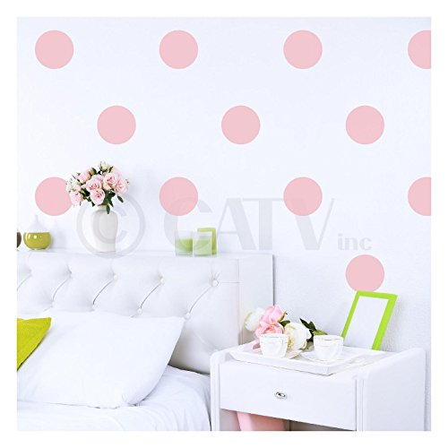 6x6 Set of 24 Polka Dot Circles vinyl lettering decal home decor wall art saying (Vintage -