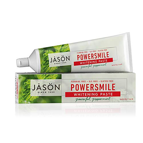 All Toothpaste Whitening Natural Powersmile - JASON Powersmile Whitening Fluoride-Free Toothpaste, Powerful Peppermint, 6 Ounce Tube