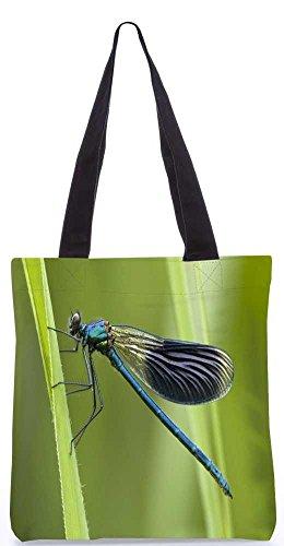 """Snoogg Marineblau Libelle Tragetasche 13,5 X 15 In """"Shopping-Dienstprogramm Tragetasche Aus Polyester Canvas"""