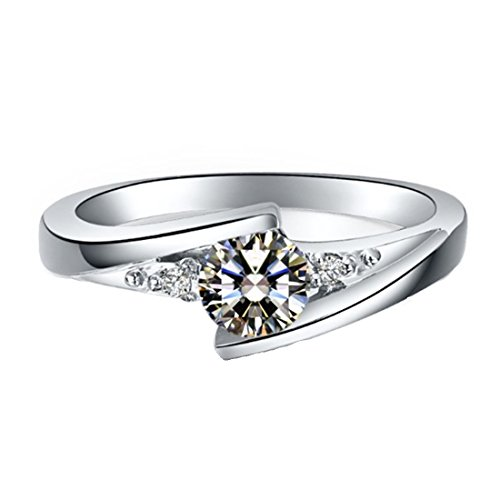 Solid 18K White Gold Moissanite Ring for Women Engagement 0.5CT Synthetic Diamond Ring by THREE MAN