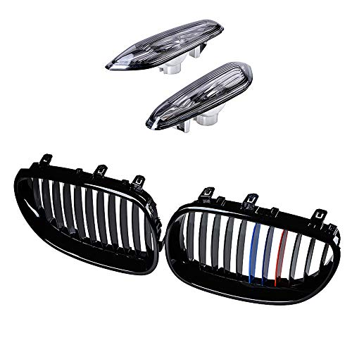 Left Right Glossy Black Painted M-Color Kidney Grille & Turn Signals Side Marker Light Smoke Lens Housing Compatible with 2004-2010 BMW E60 E61 5 Series 4-Door