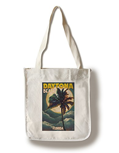 Daytona Beach, Florida - Palms and Moon (100% Cotton Tote Bag - Reusable, Gussets, Made in - Shopping Daytona Florida Beach