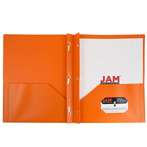 JAM Paper Plastic Eco Two Pocket Presentation Folder with Clasps - Orange - 6/pack