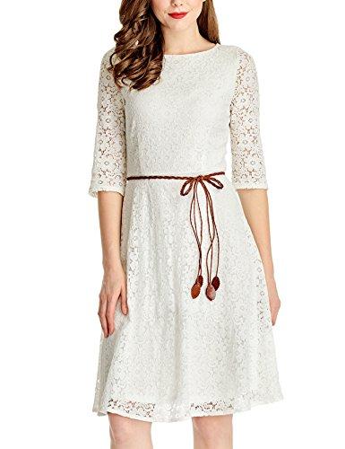 ivory dress 3/4 sleeves - 8