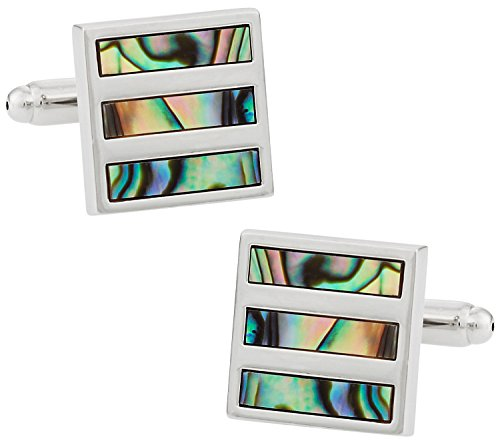 (Cuff-Daddy Abalone Shell Silver Cufflinks with Presentation Box)