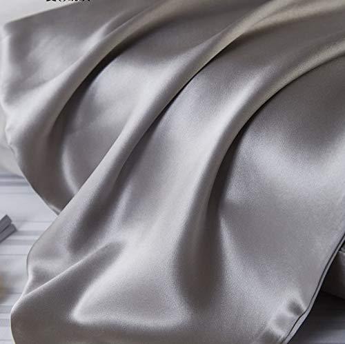 MervSilk - 100 Mulberry Silk Luxury Pillowcase, Charmeuse, 19 Momme, Grade 6A OKEO TEX Certified - Queen - Envelope Style, Grey (Queen, 50×70cm)