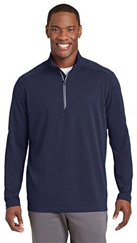 Sport-Tek Mens Sport-Wick Textured 1/4-Zip Pullover (ST860) -TRUE NAVY -L by Sport-Tek