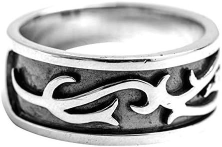Beydodo Gothic Ring Silber 925 für Herren Vintage Filigran Muster 9.5 MM Silber Freundschaftsring