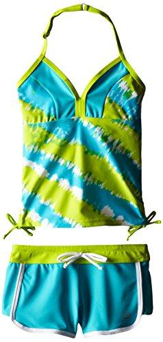 Free Country Big Girls' Color Block Halter Tie Dye Print Tankini