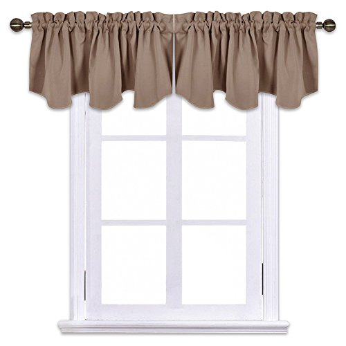 NICETOWN Blackout Valance Tiers for Bedroom - 52-inch by 18-inch Scalloped Rod Pocket Window Curtains and Draperies, Cappuccino (2-Packs) (Bedroom Valances)