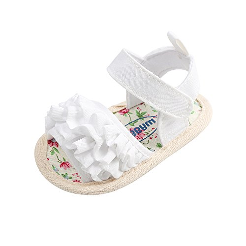 Baby Girls Summer Shoes Infant Sandals Soft Sole Anti-Slip First Walkers Beach Sandals, White 12-18 Months